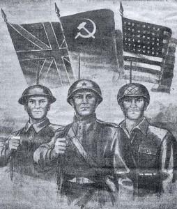 """Рис. М. Бекташева. Газета """"Смена"""" 9 мая 1945 года"""